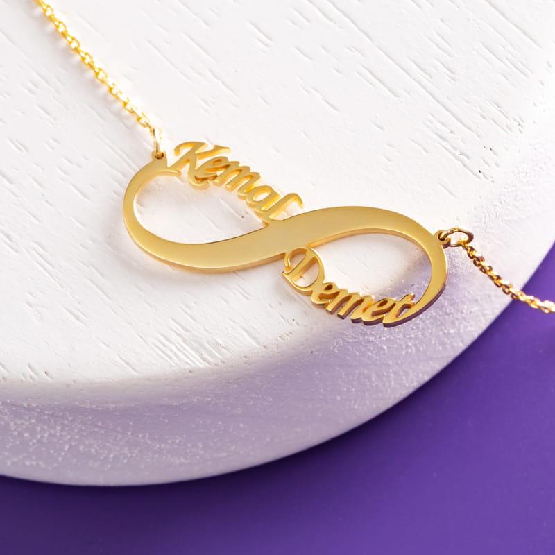Sevgililer Günü Hediyesi İsimli Sonsuzluk Gümüş Kolye