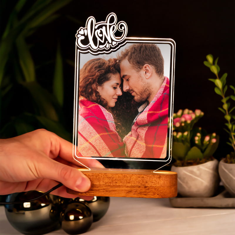 Sevgiliye Hediye Fotoğraflı 3D Led Lamba