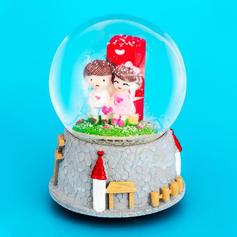 Sevgiliye Hediye Kalbimin Sahibi Tasarımlı Müzikli Kar Küresi