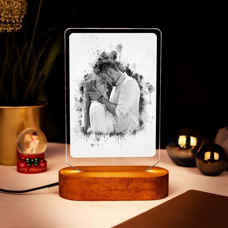 Sevgiliye Hediye Karakalem Tasarımlı Led Lamba