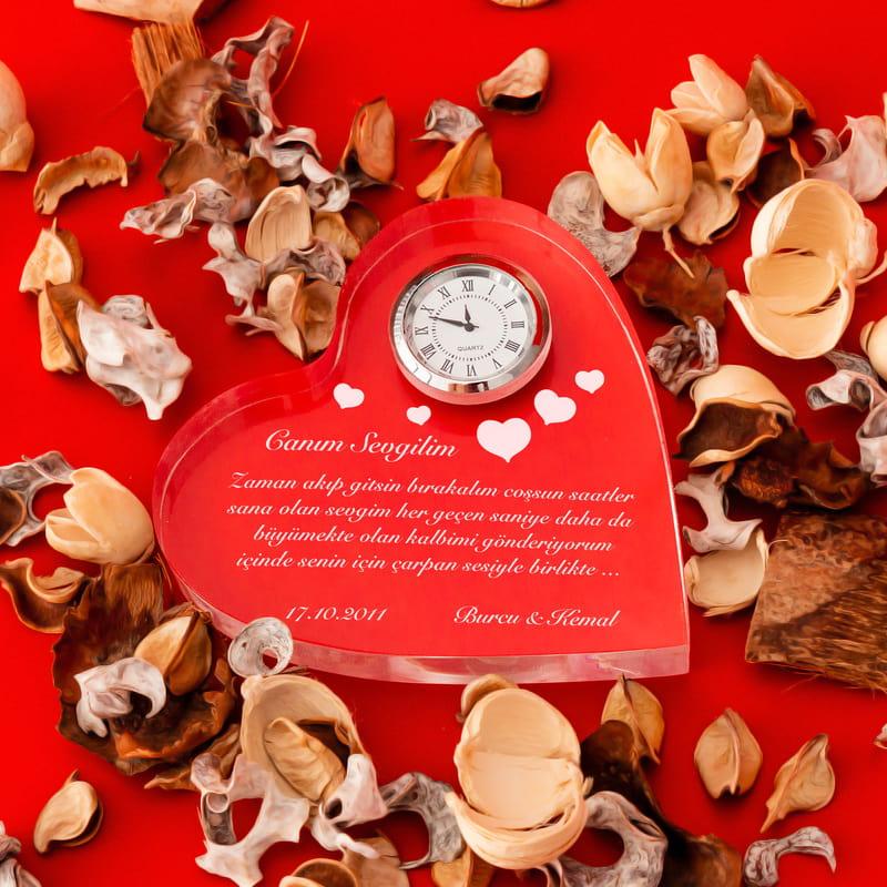 Sevgiliye Hediye Mesajlı Kalp Saat