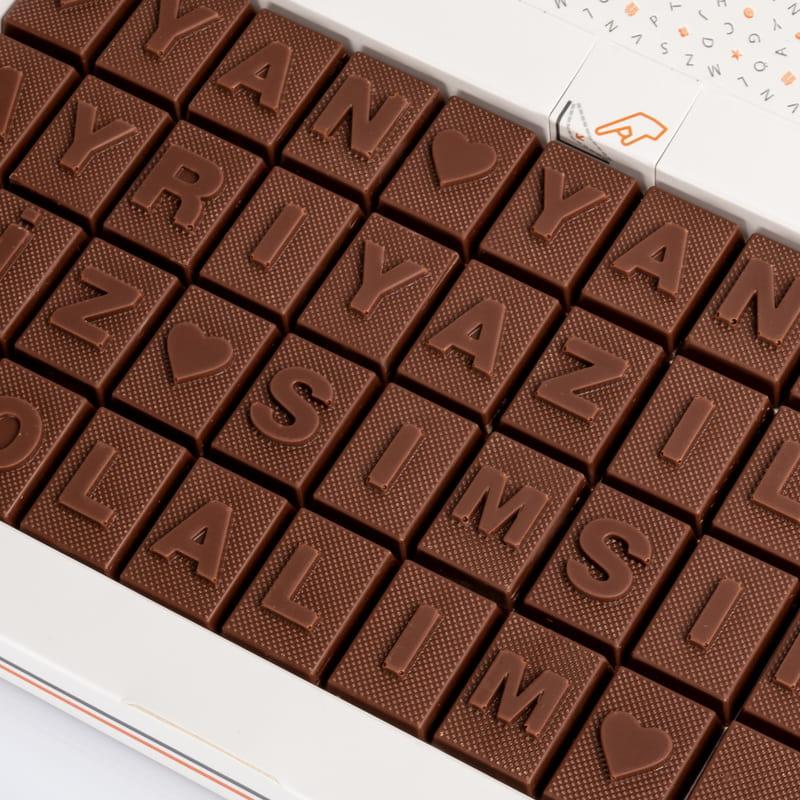 Sevgiliye Hediye Romantik Mesajlı Harf Çikolata
