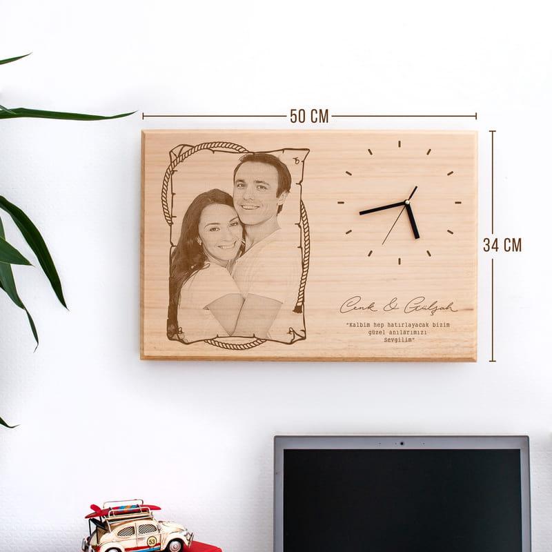 Sevgiliye Hediye Saati Büyük Boy Ahşap Foto