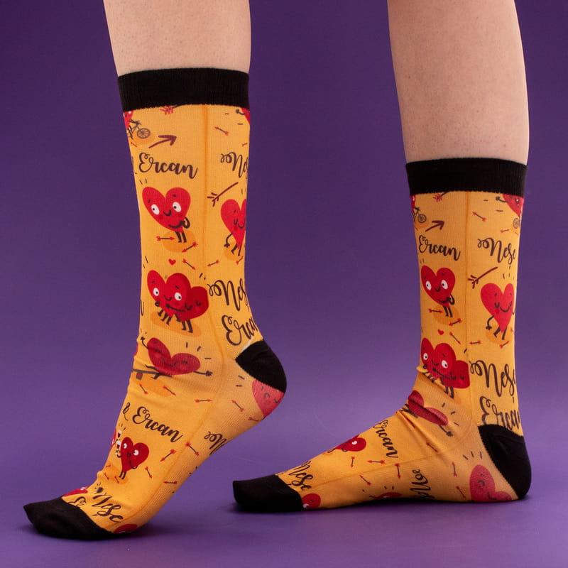 Sevgiliye Hediye Sevimli Kalpler Baskılı Esprili Çorap