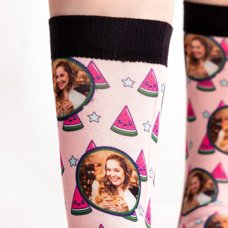 Sevimli Karpuz Tasarımlı Hediyelik Fotoğraflı Çorap