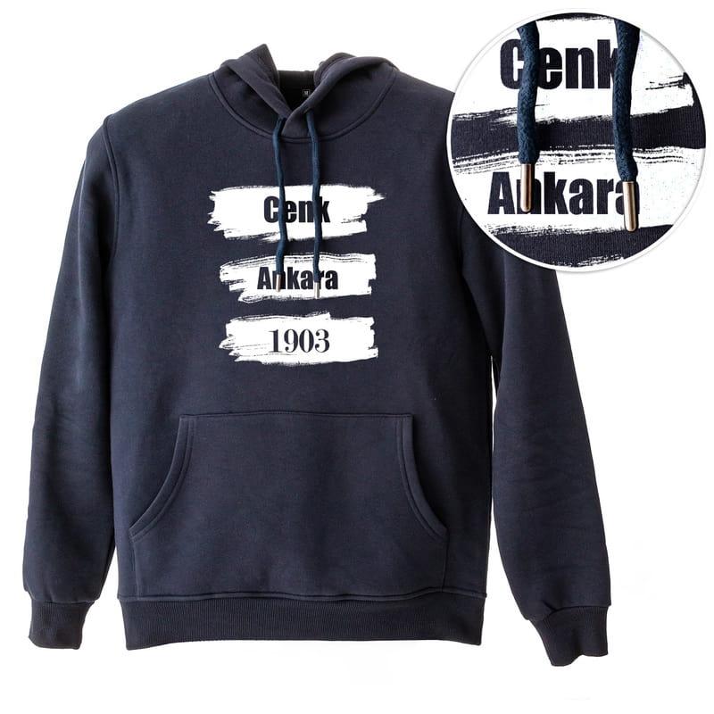 Siyah Beyaz Baskılı Kişiye Özel Kapşonlu Sweatshirt