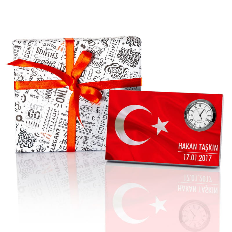 Türk Bayraklı Kurumsal Hediye Saatli Masa İsimiği