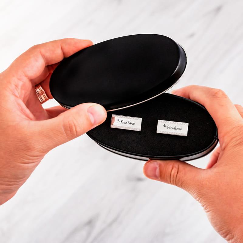 VIP İsme Özel Gümüş Kaplama Kol Düğmesi