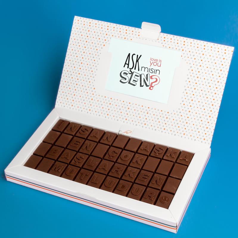 Yeni Aşıklara Hediye Romantik Mesajlı Harf Çikolata