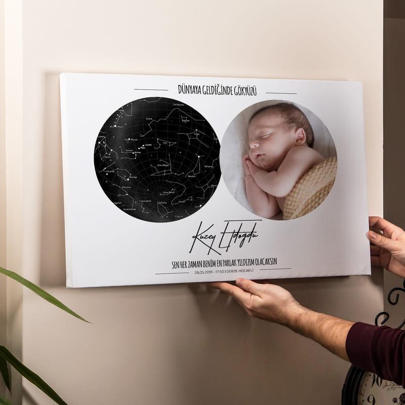 Yeni Doğan Bebeğe Hediye Fotoğraflı Yıldız Haritası Kanvas Tablo