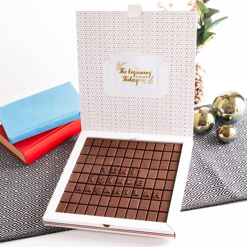 Yeni İşe Başlayan Arkadaşa Hediye Mesajlı Harf Çikolata