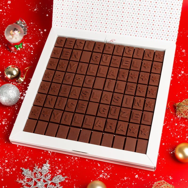 Yeni Yıl Motivasyon Mesajlı Hediye Harf Çikolata