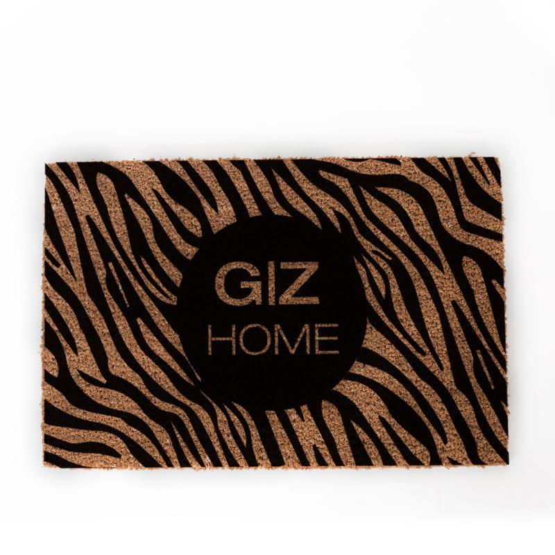 Zebra Desenli Dekoratif Baş Harf Baskılı Ofis Kapı Önü ve Ev İçi Paspas