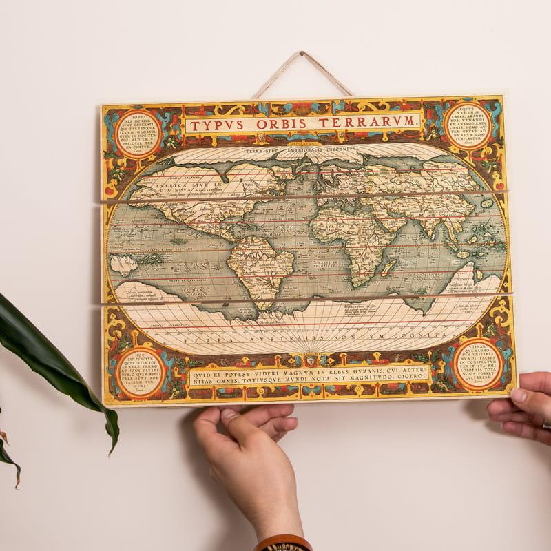 Abraham Ortelius Eski Dünya Retro Haritası Ahşap Palet Tablo