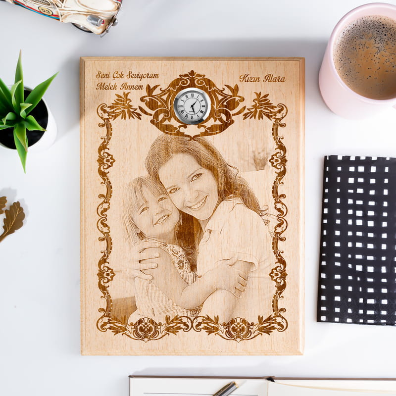 Anne-Kız Ahşap Foto