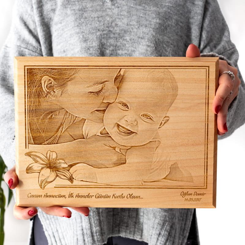 Anneme İlk Anneler Günü Hediyesi Ahşap foto
