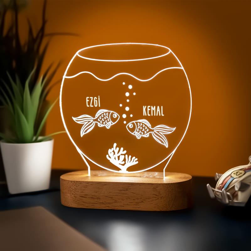Aşık Balıklar Tasarımlı Led Lamba