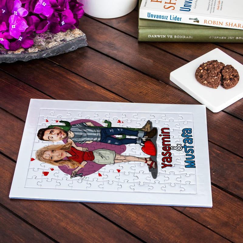 Aşk Mahkumlarına Karikatür Fotoğraf Baskılı A4 Puzzle