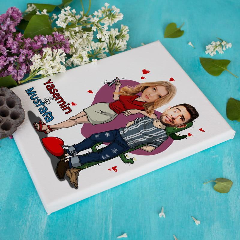 Aşk Mahkumlarına Karikatür Fotoğraf Baskılı Esprili Tablo 30x40