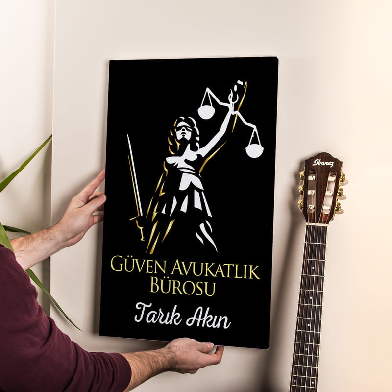 Avukatlık Bürolarına Hediye Adalet Terazili Tasarım Kanvas Tablo 40x60