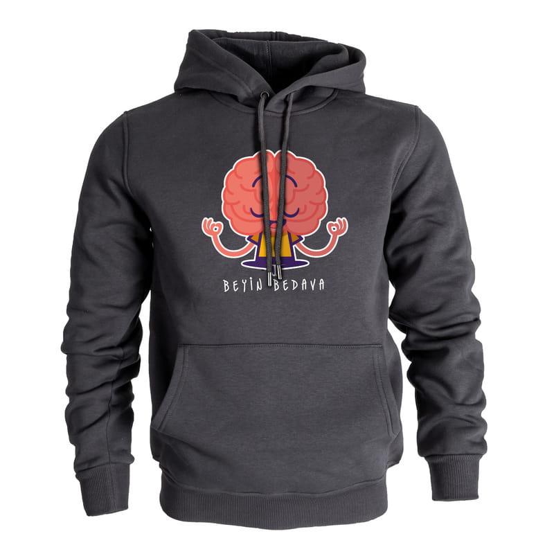 Beyin Bedava Esprili Kapşonlu Sweatshirt