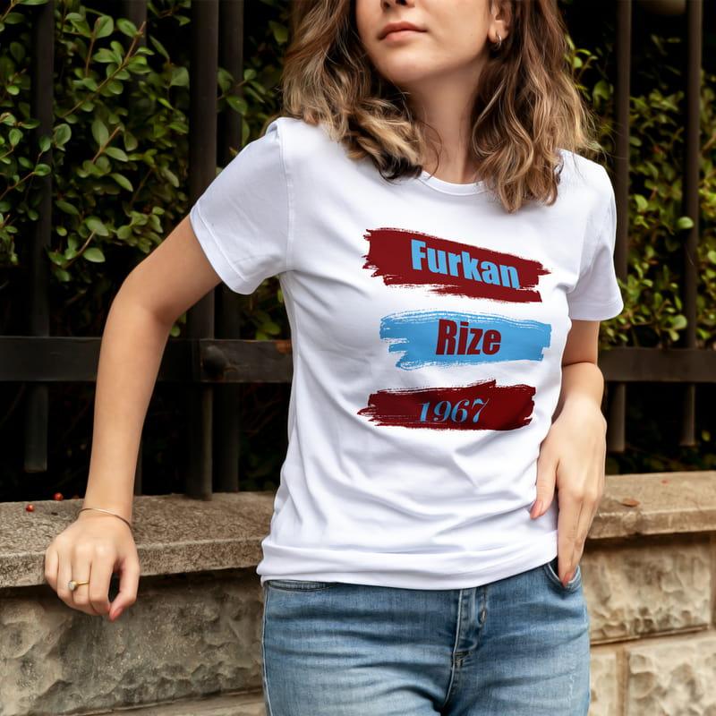 Bordo Mavi Renkli İsimli Hediye Tişört
