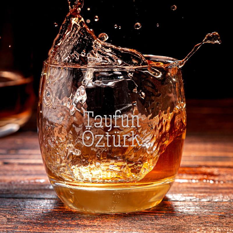 Çiftlere Özel İsim Yazılı 2 li Viski Bardak Seti
