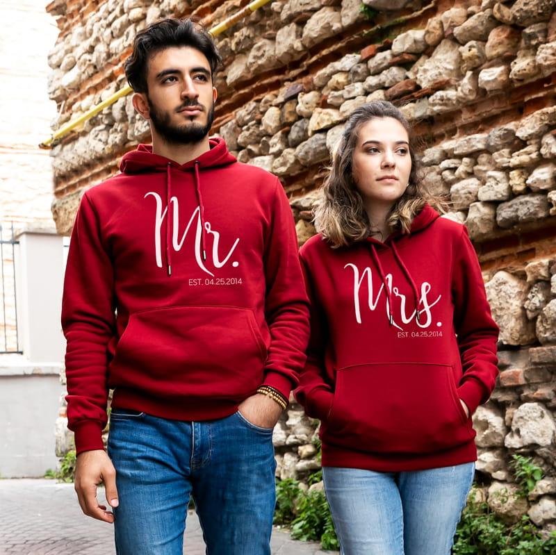Çiftlere Özel Tarih Yazılı Sevgili Kombini Kapşonlu Sweatshirt