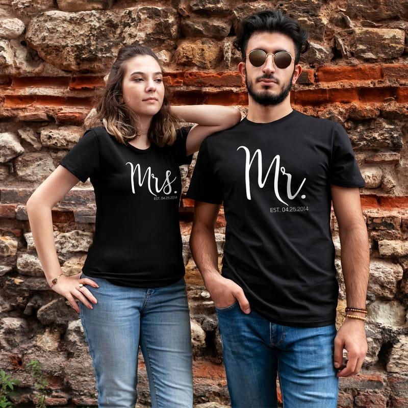 Çiftlere Özel Tarih Yazılı Sevgili Kombini Tişört