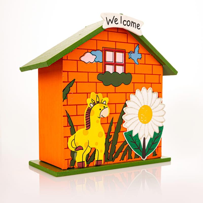 Çocuklara Welcome Figürlü Turuncu Ahşap Ev Modeli Kumbara