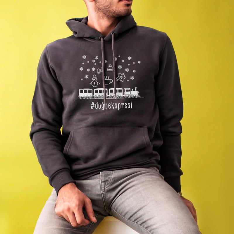 DoğuEkspresi Özel Baskılı Kapşonlu Sweatshirt
