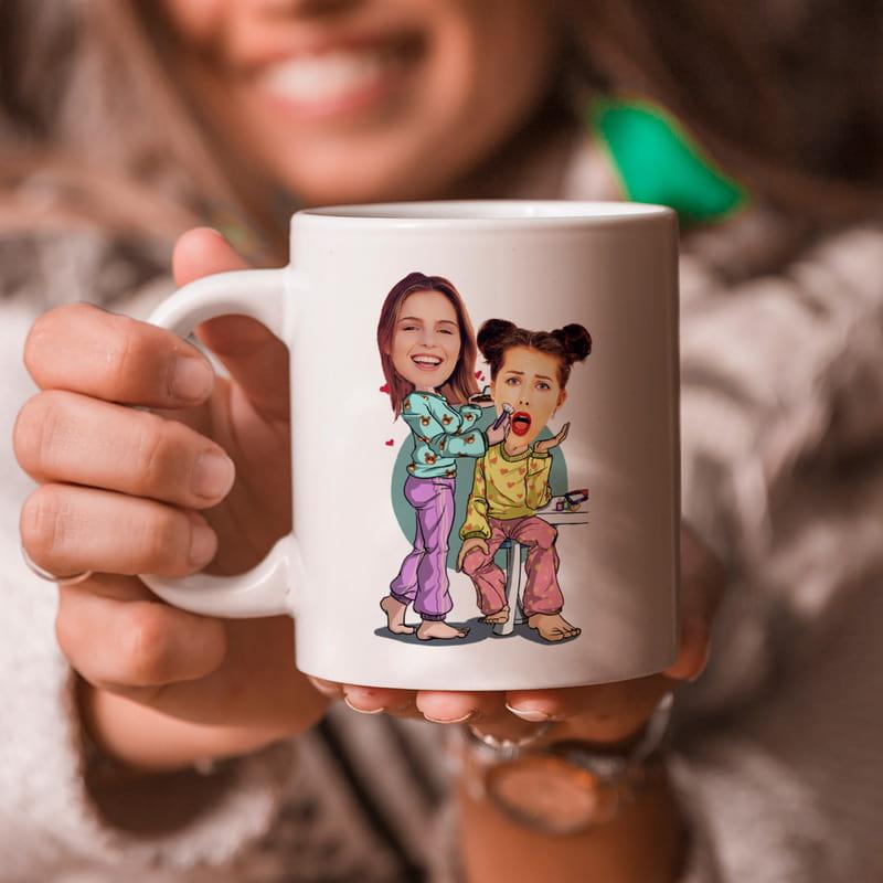 En Yakın Kız Arkadaşa Hediye Pijama Partisi Tasarımlı Karikatür Kupa