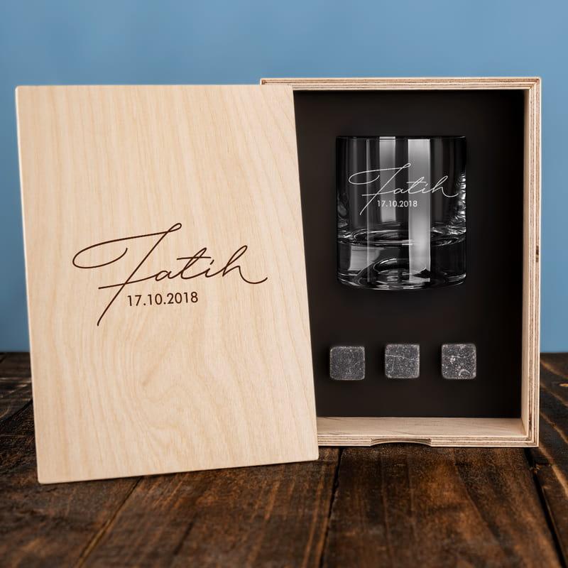 İmza Stili Tasarımlı Ahşap Kutulu Viski Kadeh Seti