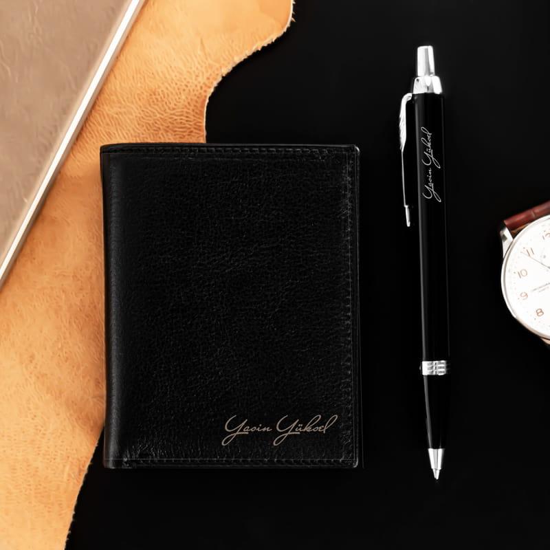 İsim İmzalı Parker Kalem ve Kartlık Cüzdan Hediye Seti