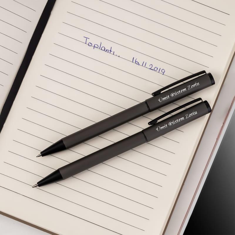 İsme Özel Şık Metal Kutulu İkili Kalem Seti