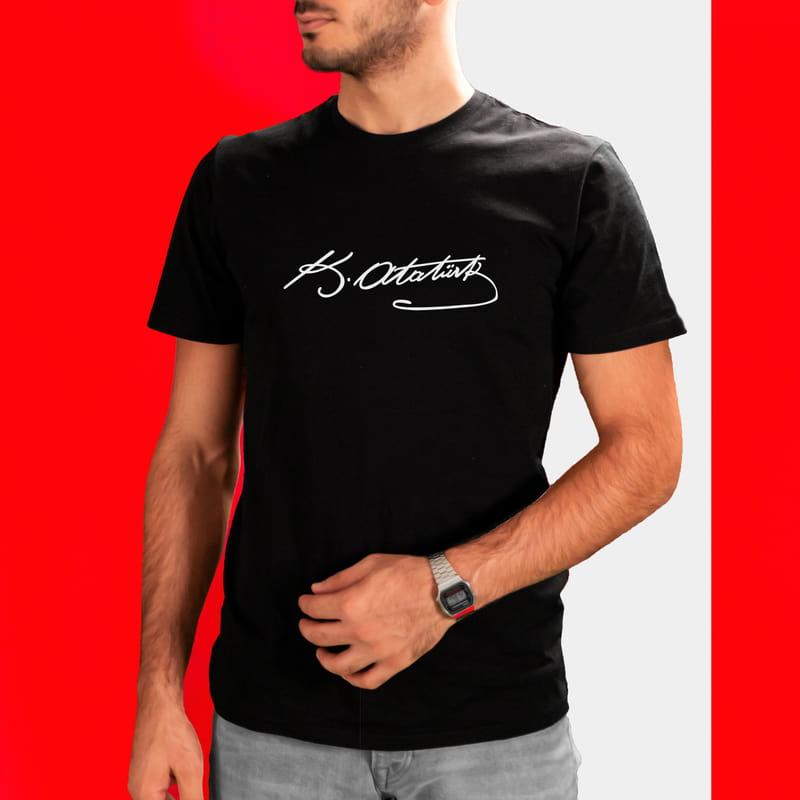 Kemal Atatürk İmzası Baskılı Tişört
