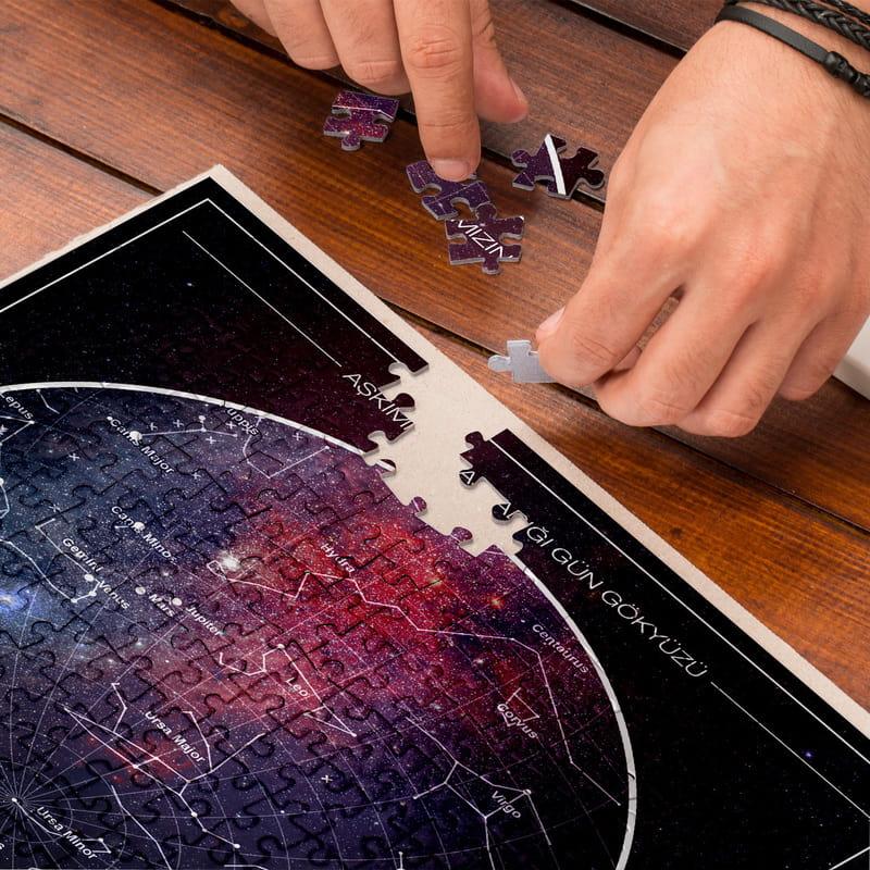 Kişiye Özel Yıldız Haritası Galaksi Tasarımlı Özel Kutulu 500 Parça Puzzle