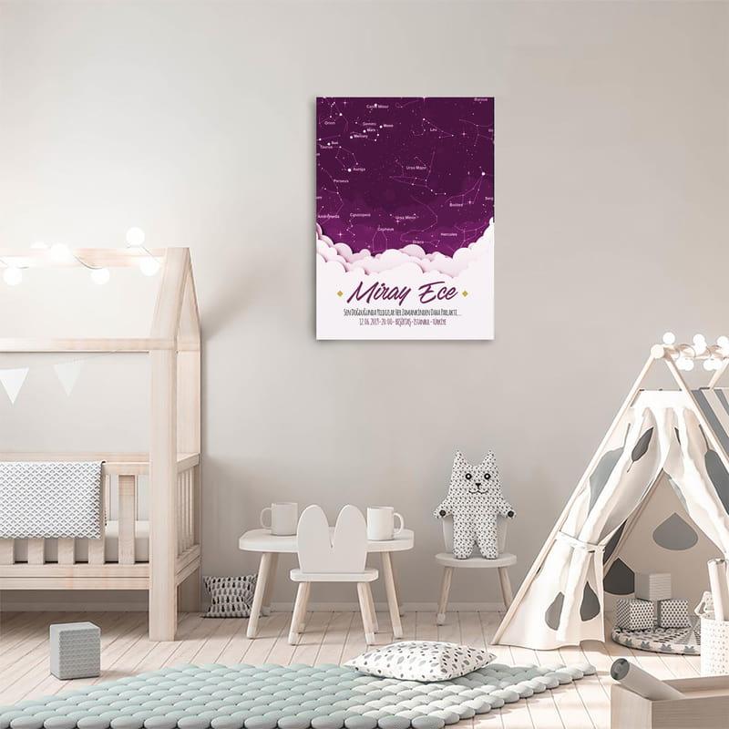 Kız Bebeğe Doğduğu Gün Yıldız Haritası Kanvas Tablo