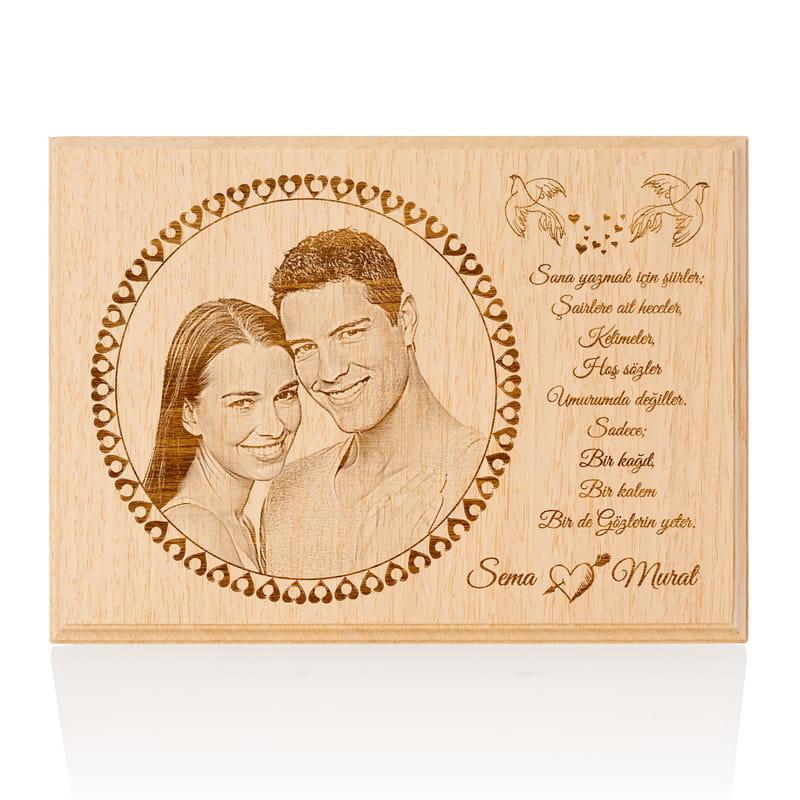 Mutlu Çiftlere Özel Mesajlı Mini Ahşap Foto