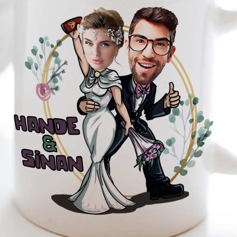 Nikah & Düğün Hatırası Karikatür Tasarımlı Kişiye Özel Kupa