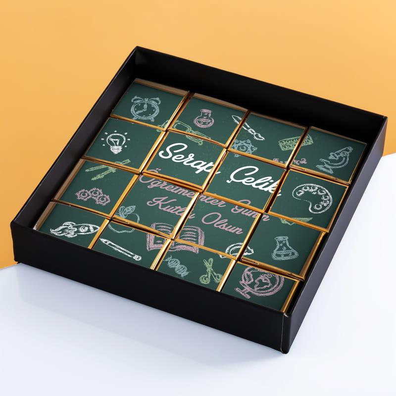 Öğretmenler Günü Hediyesi Baskılı Puzzle Çikolata