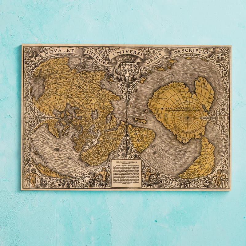 Old Map Retro Eski Dünya Haritası Kanvas Tablo 40x60