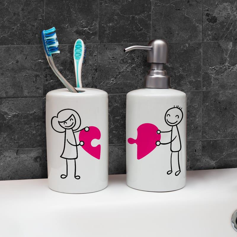 Puzzle Kalpli Sevgiliye Özel Yeni Ev Hediyesi Banyo Seti