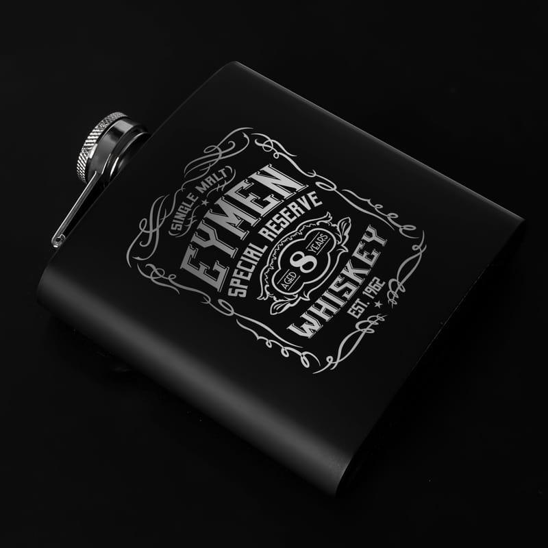Retro Tasarımlı İsme Özel Paslanmaz 6 Oz Mat Siyah Çelik Matara