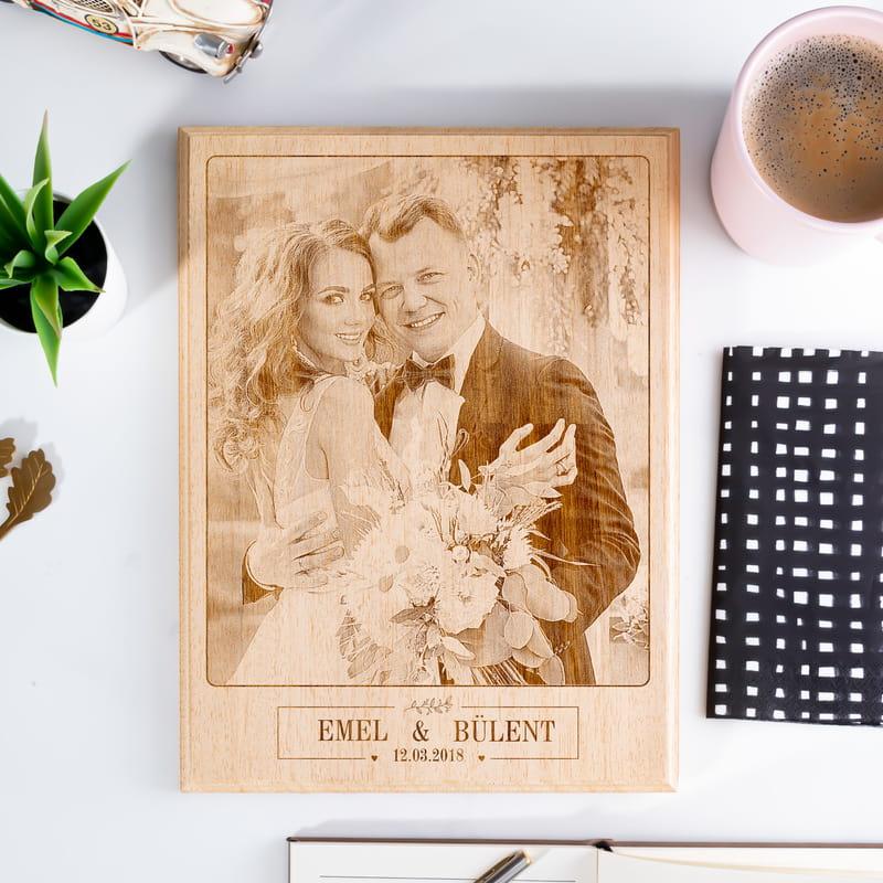 Romantik Yıldönümü Hediyesi Fotoğraf Baskılı Ahşapfoto
