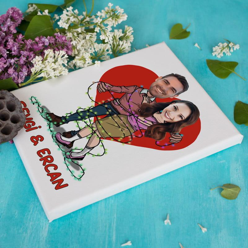 Sevgililer Günü Hediyesi Karikatür Baskılı Esprili Tablo 30x40