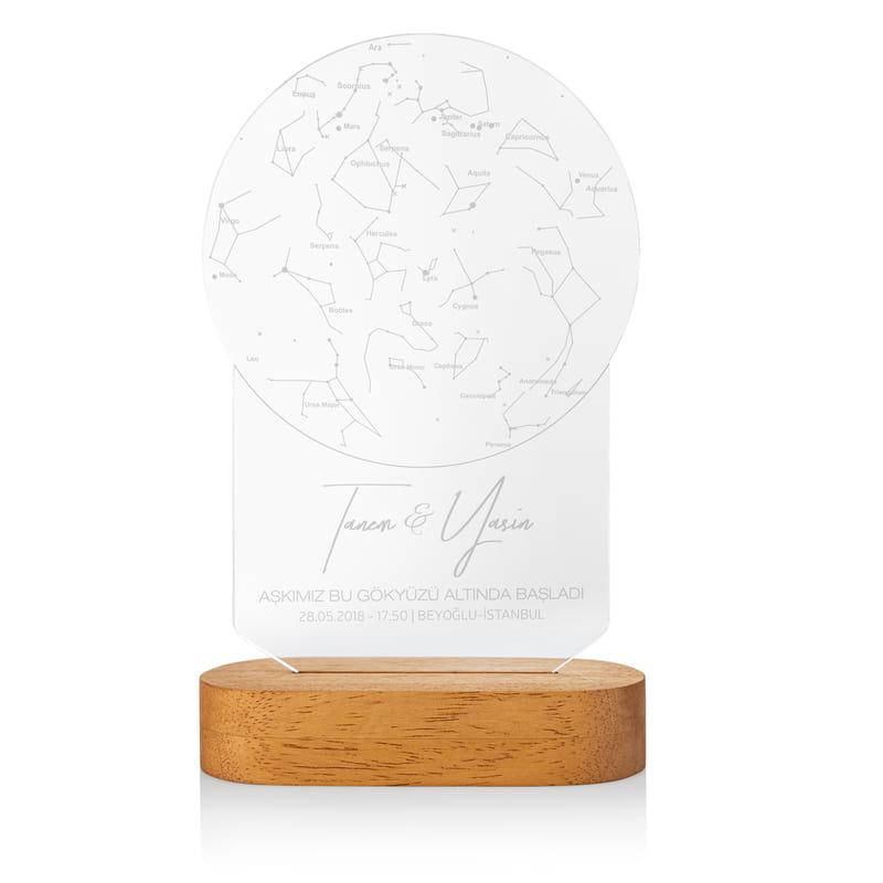 Sevgiliye Hediye Aşkın Yıldız Haritası Led Lamba