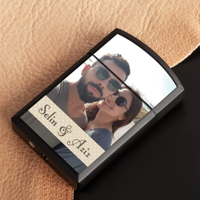 Sevgiliye Hediye Fotoğraflı Metal Siyah Çakmak