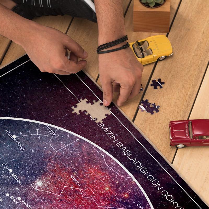 Sevgiliye Hediye Yıldız Haritası Tasarımlı Romantik 1000 Parça Puzzle
