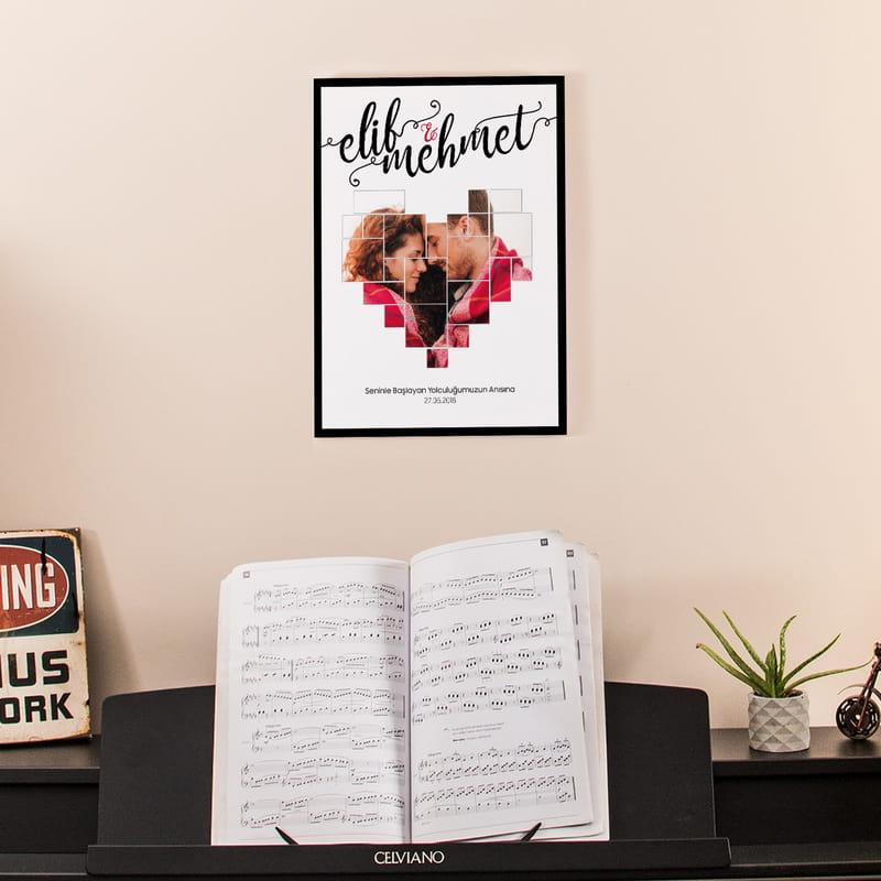Sevgiliye Yıldönümü Hediyesi Kolaj Kalp Tasarımlı Tablo 30x40